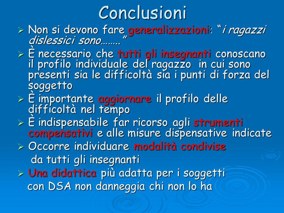 Conclusioni Non si devono fare generalizzazioni: i ragazzi dislessici sono……..