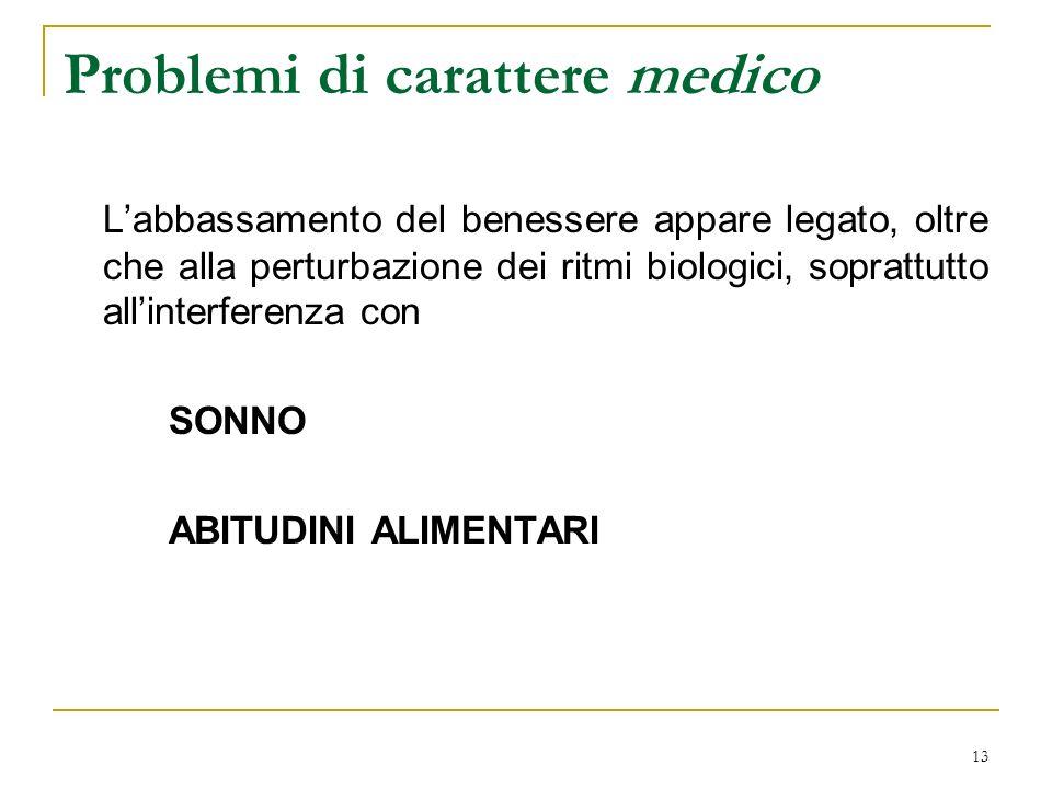 Problemi di carattere medico