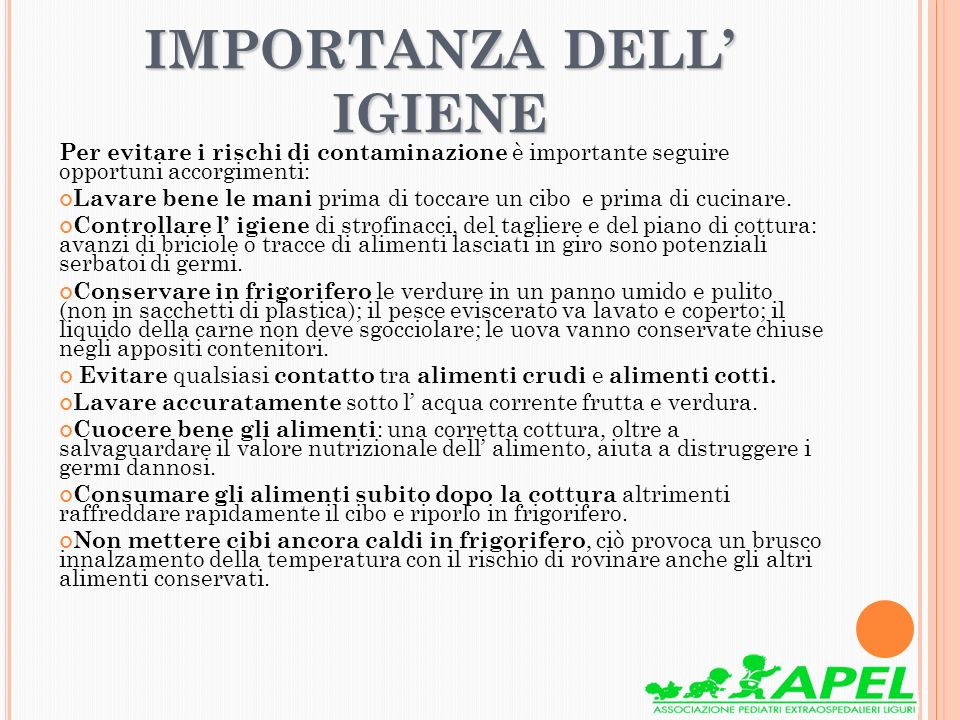 IMPORTANZA DELL' IGIENE
