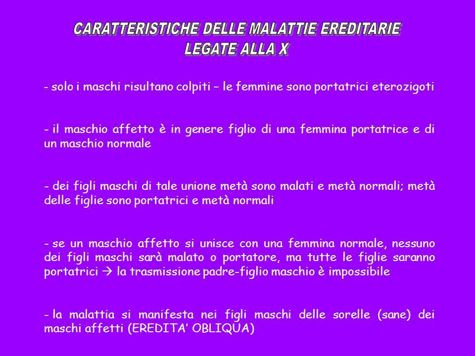CARATTERISTICHE DELLE MALATTIE EREDITARIE