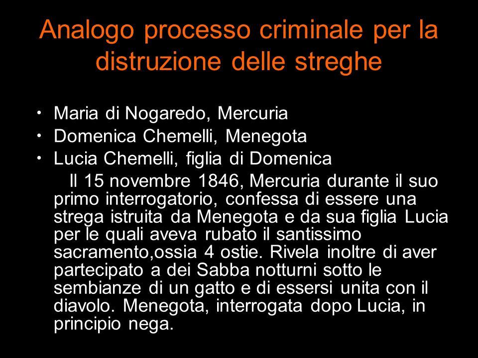 Analogo processo criminale per la distruzione delle streghe