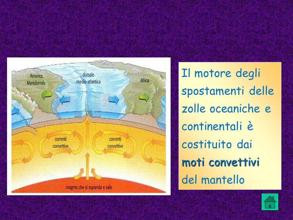 Il motore degli spostamenti delle zolle oceaniche e continentali è costituito dai moti convettivi del mantello