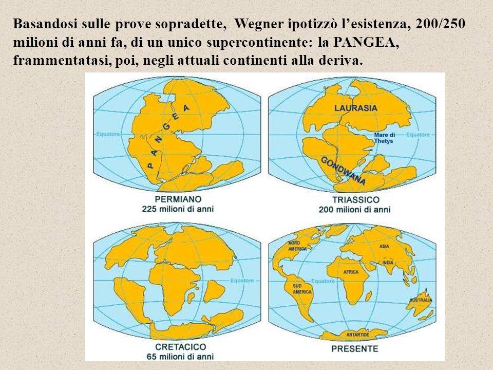 Basandosi sulle prove sopradette, Wegner ipotizzò l'esistenza, 200/250 milioni di anni fa, di un unico supercontinente: la PANGEA, frammentatasi, poi, negli attuali continenti alla deriva.