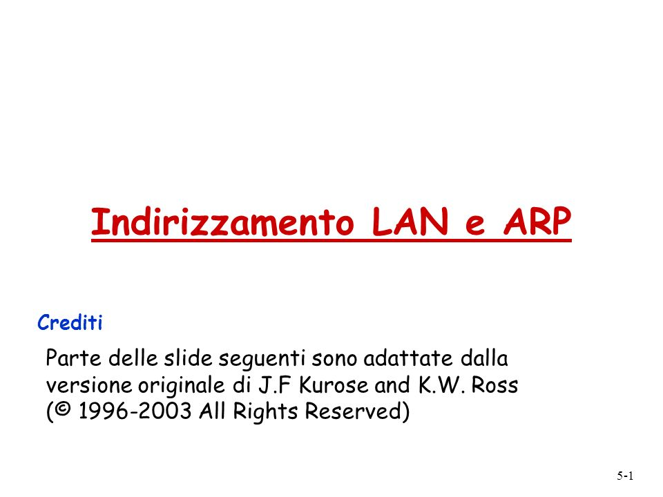 Indirizzamento LAN e ARP