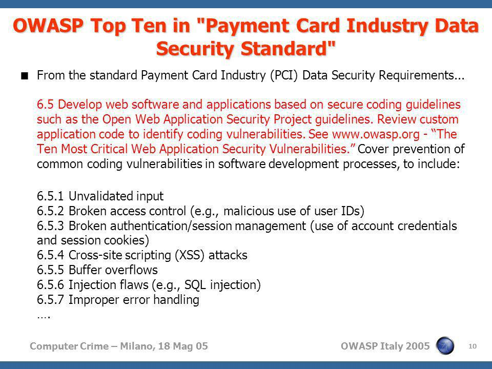 OWASP Top Ten in Payment Card Industry Data Security Standard