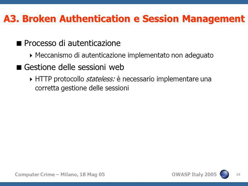 A3. Broken Authentication e Session Management