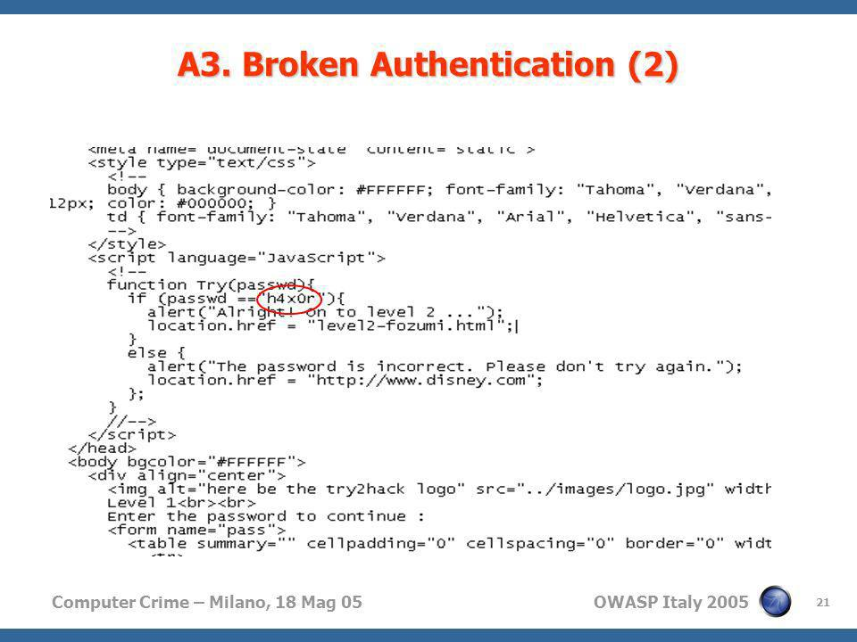 A3. Broken Authentication (2)