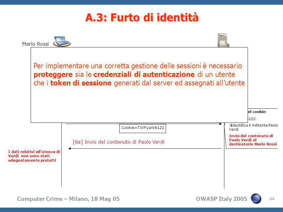 A.3: Furto di identità Mario Rossi.
