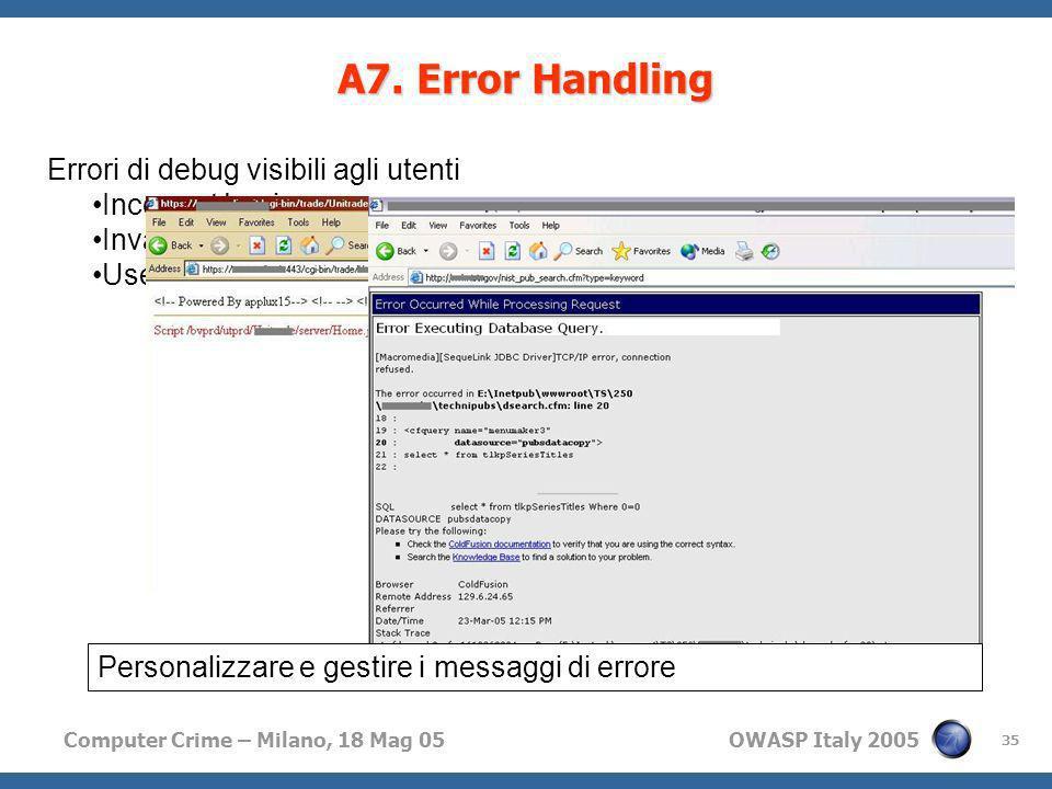 A7. Error Handling Errori di debug visibili agli utenti