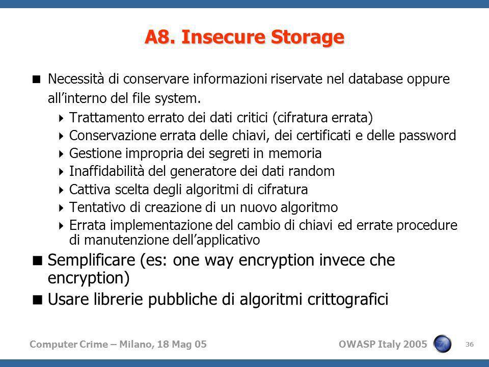 A8. Insecure StorageNecessità di conservare informazioni riservate nel database oppure all'interno del file system.