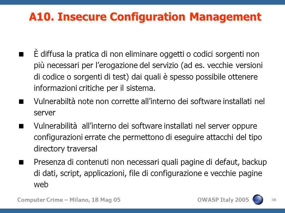 A10. Insecure Configuration Management