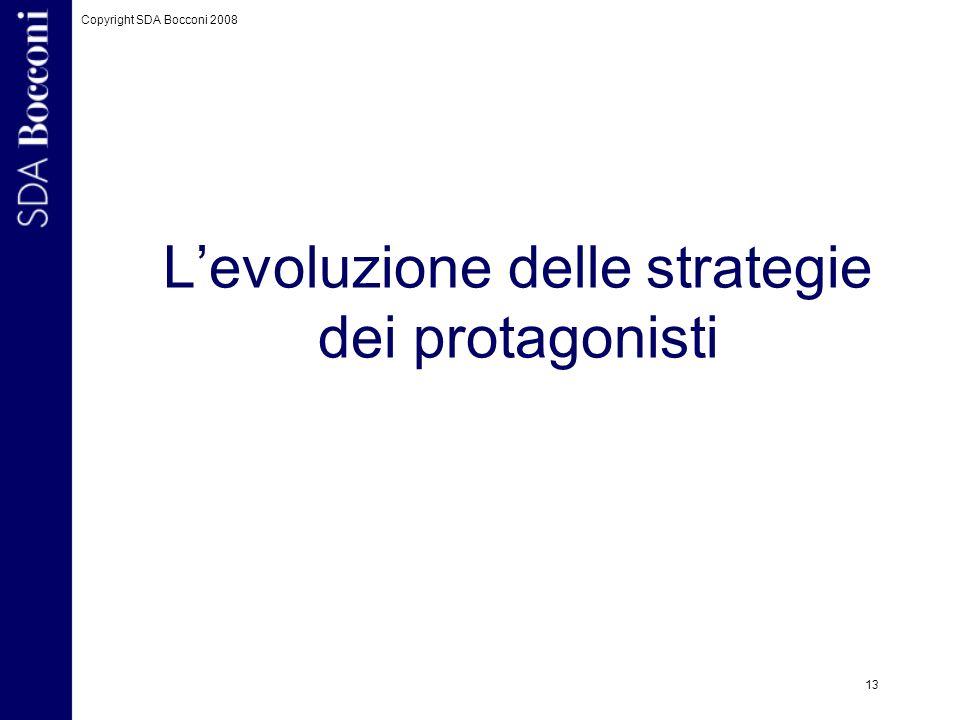 L'evoluzione delle strategie dei protagonisti