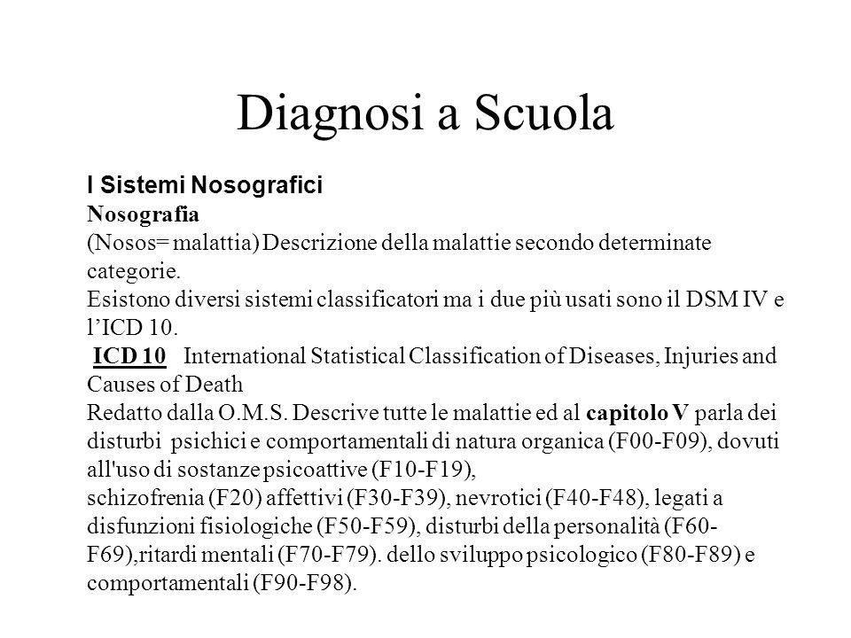 Diagnosi a Scuola I Sistemi Nosografici Nosografia