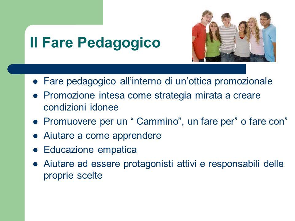 Il Fare Pedagogico Fare pedagogico all'interno di un'ottica promozionale. Promozione intesa come strategia mirata a creare condizioni idonee.