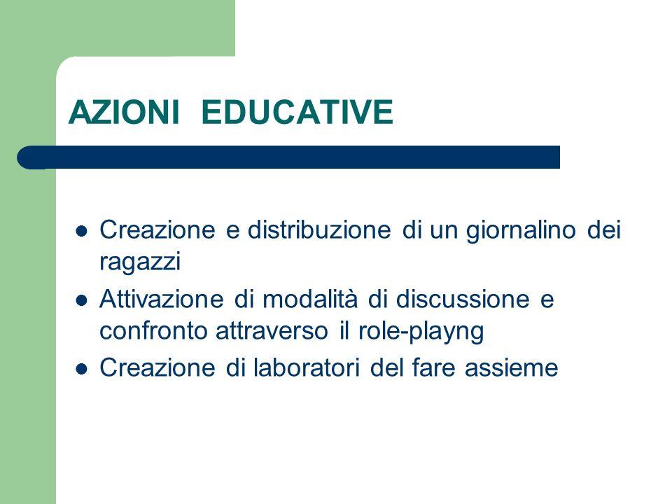 AZIONI EDUCATIVE Creazione e distribuzione di un giornalino dei ragazzi.