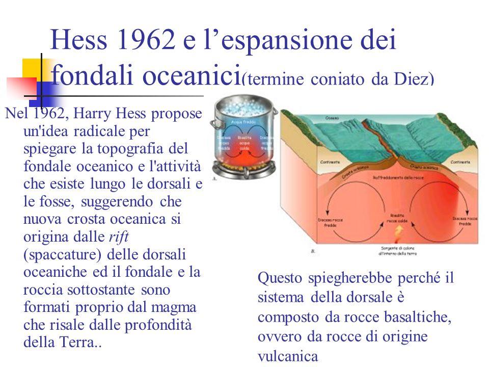 Hess 1962 e l'espansione dei fondali oceanici(termine coniato da Diez)