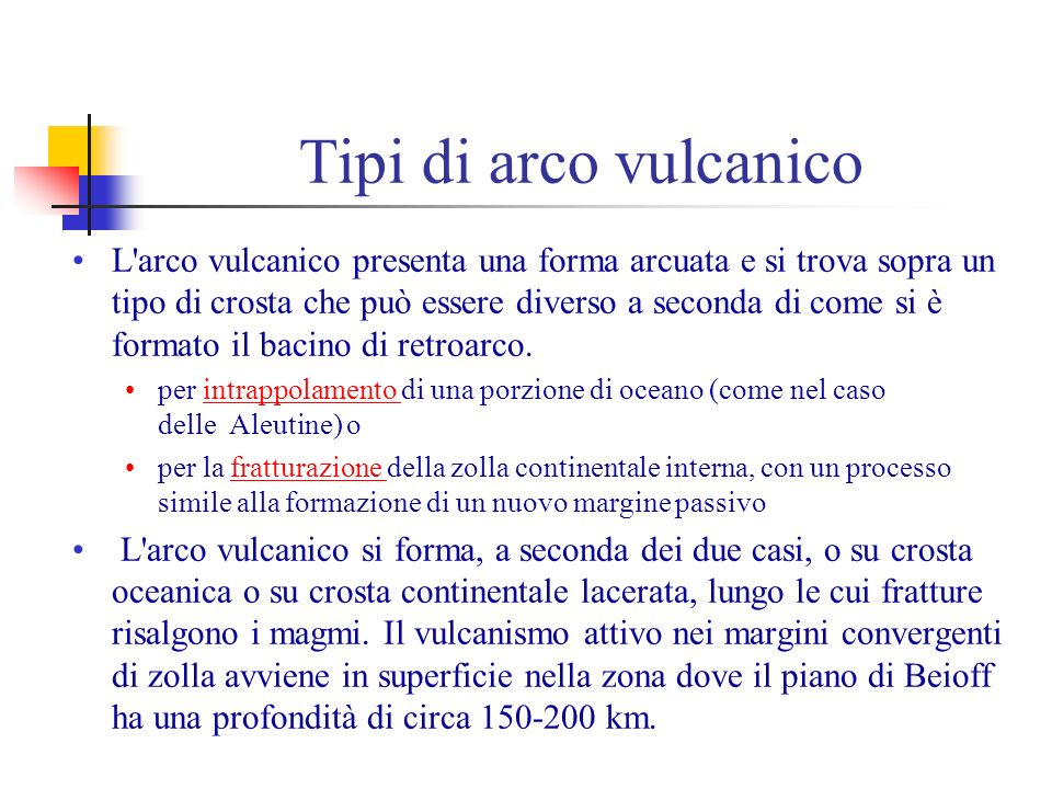 Tipi di arco vulcanico