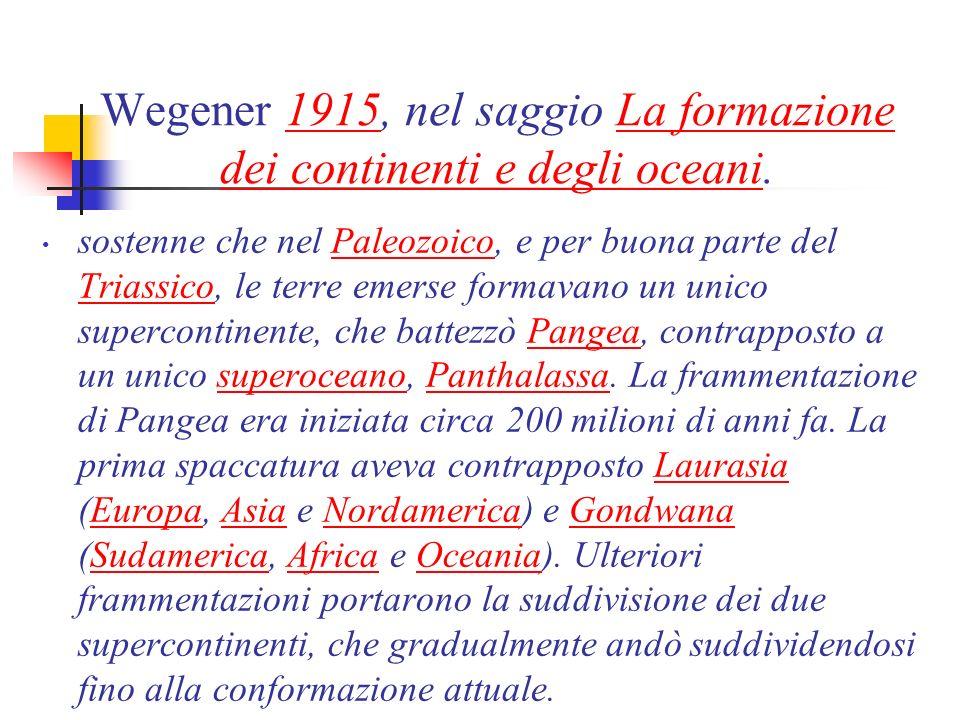 Wegener 1915, nel saggio La formazione dei continenti e degli oceani.