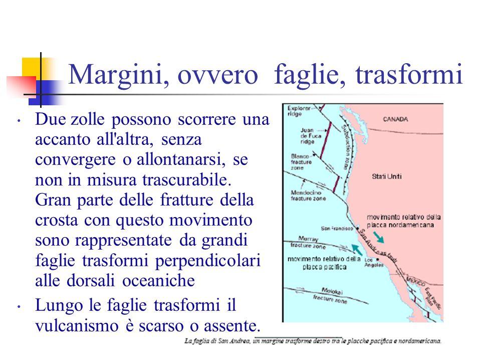 Margini, ovvero faglie, trasformi