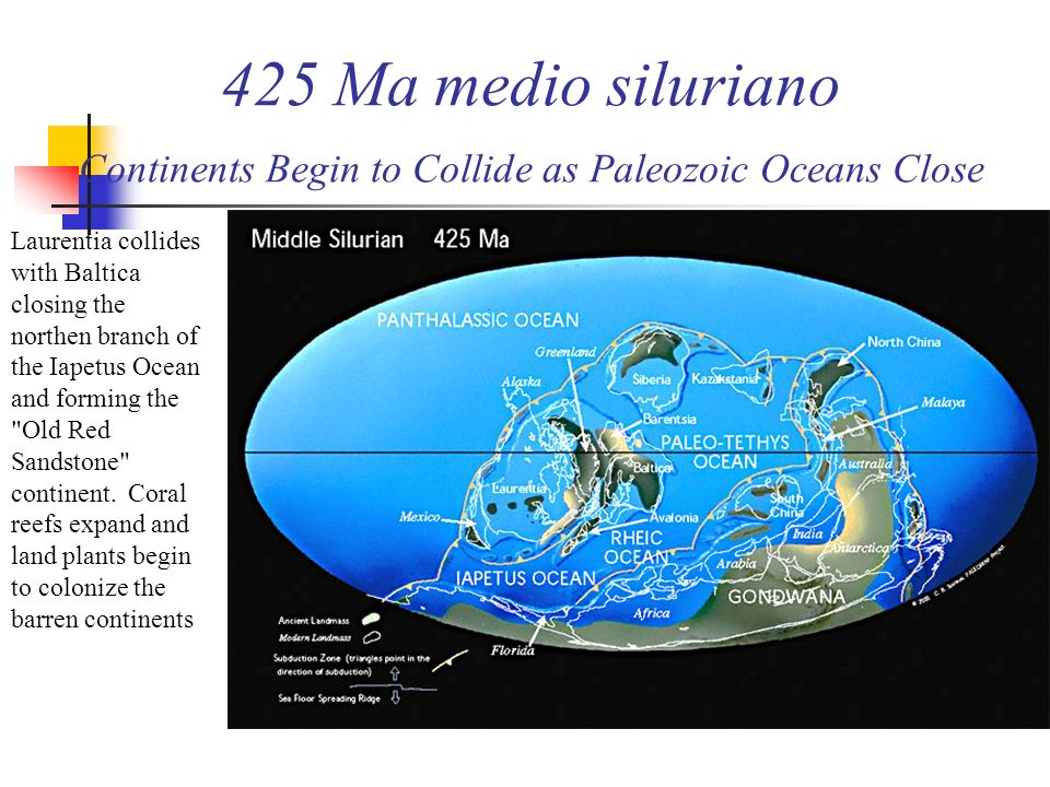 425 Ma medio siluriano Continents Begin to Collide as Paleozoic Oceans Close