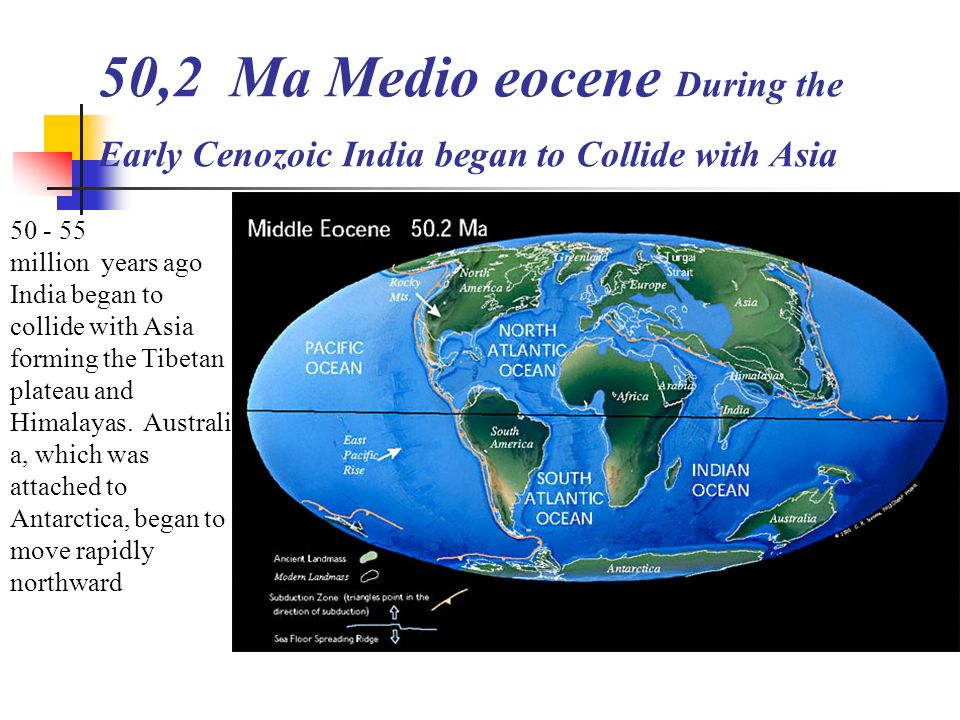 50,2 Ma Medio eocene During the Early Cenozoic India began to Collide with Asia