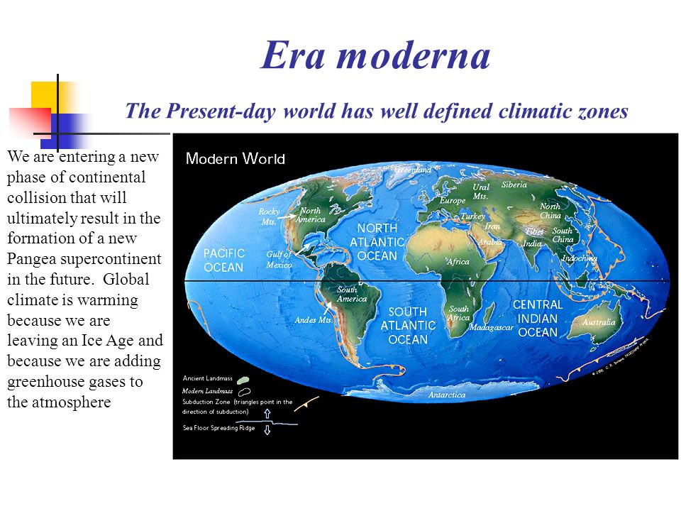 Era moderna The Present-day world has well defined climatic zones