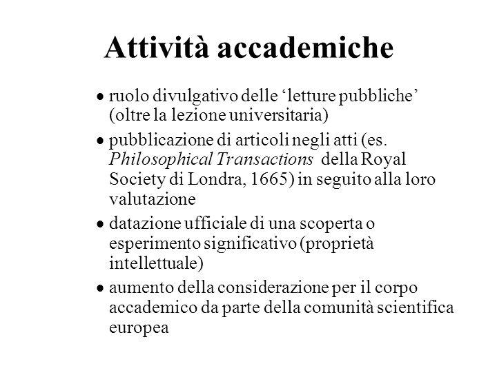 Attività accademiche ruolo divulgativo delle 'letture pubbliche' (oltre la lezione universitaria)