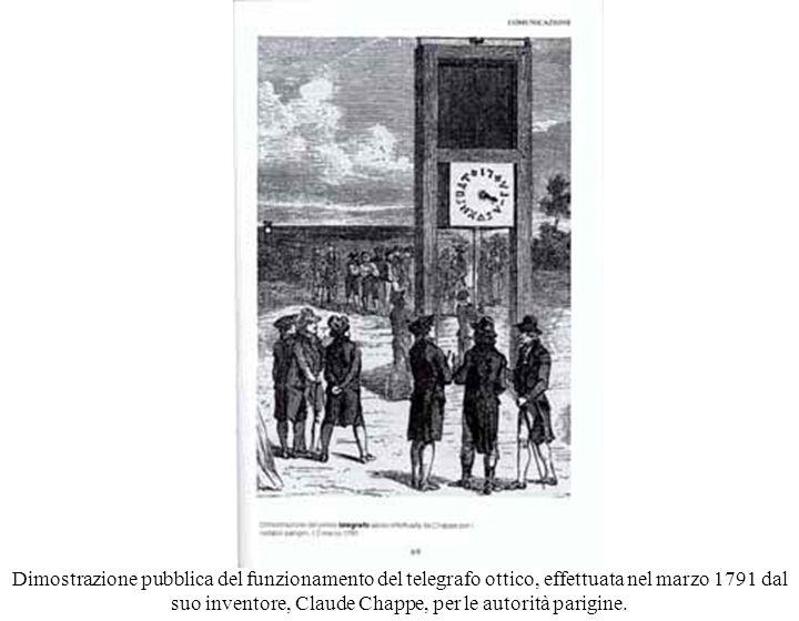 Dimostrazione pubblica del funzionamento del telegrafo ottico, effettuata nel marzo 1791 dal suo inventore, Claude Chappe, per le autorità parigine.
