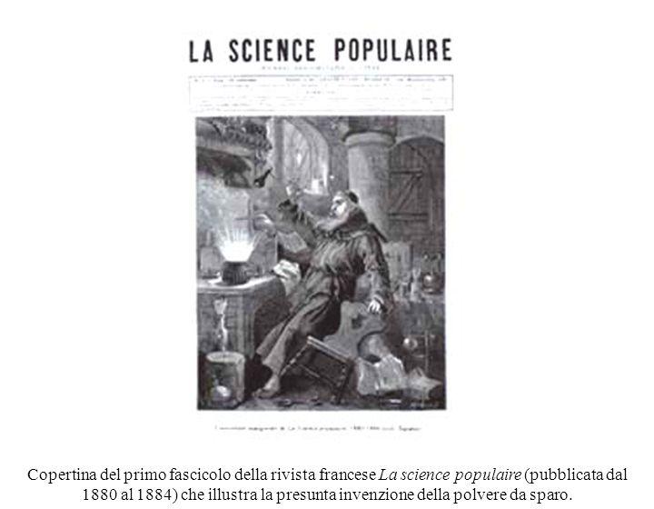 Copertina del primo fascicolo della rivista francese La science populaire (pubblicata dal 1880 al 1884) che illustra la presunta invenzione della polvere da sparo.