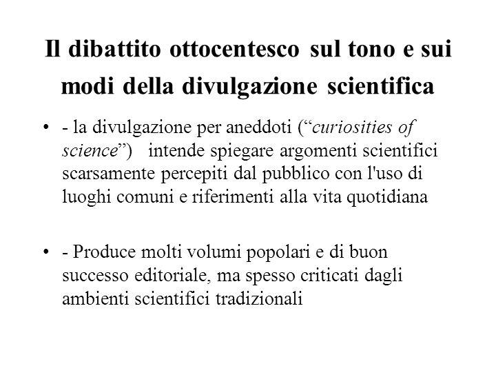 Il dibattito ottocentesco sul tono e sui modi della divulgazione scientifica