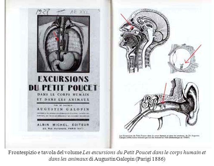 Frontespizio e tavola del volume Les excursions du Petit Poucet dans le corps humain et dans les animaux di Augustin Galopin (Parigi 1886)