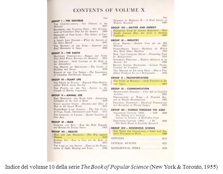 Indice del volume 10 della serie The Book of Popular Science (New York & Toronto, 1955)
