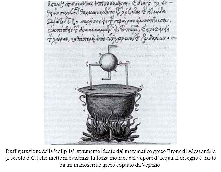 Raffigurazione della eolipila , strumento ideato dal matematico greco Erone di Alessandria (I secolo d.C.) che mette in evidenza la forza motrice del vapore d'acqua.