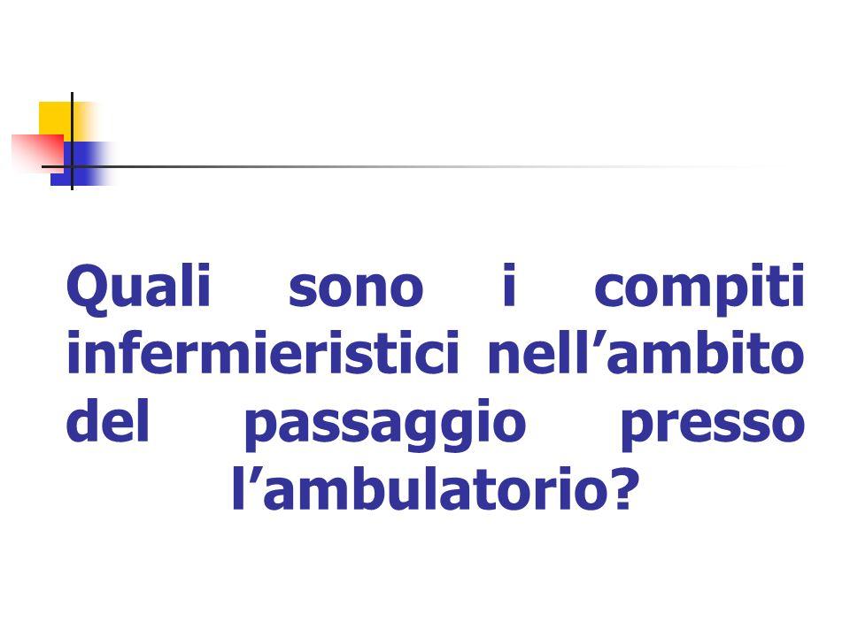 Quali sono i compiti infermieristici nell'ambito del passaggio presso l'ambulatorio