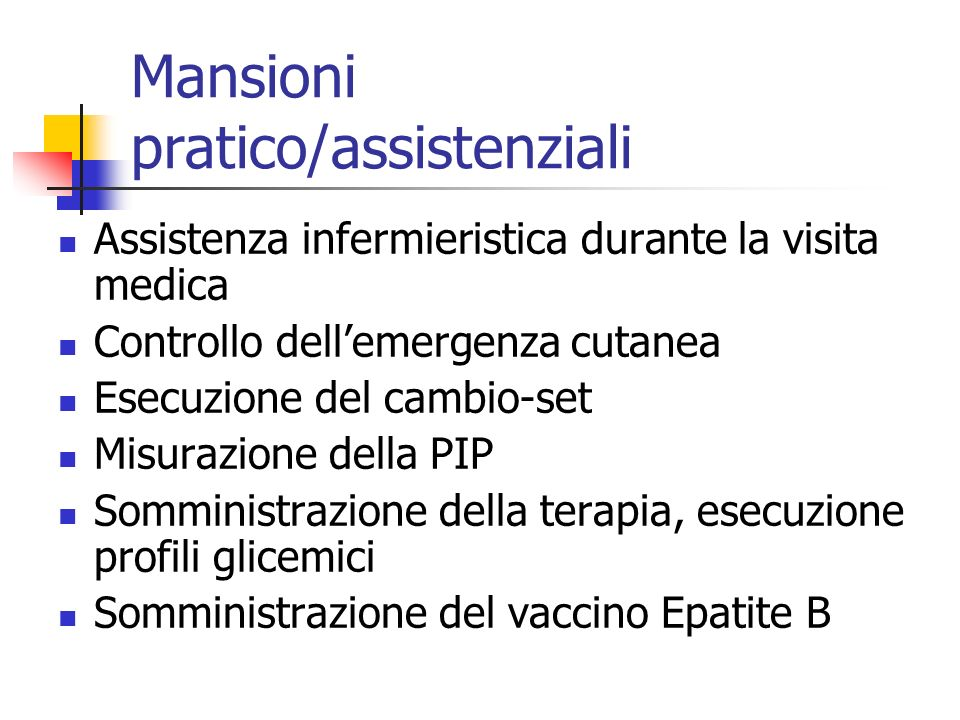 Mansioni pratico/assistenziali