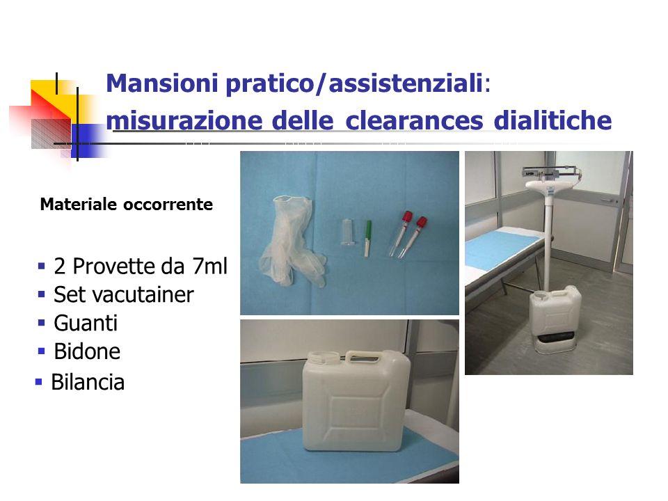 Mansioni pratico/assistenziali: misurazione delle clearances dialitiche