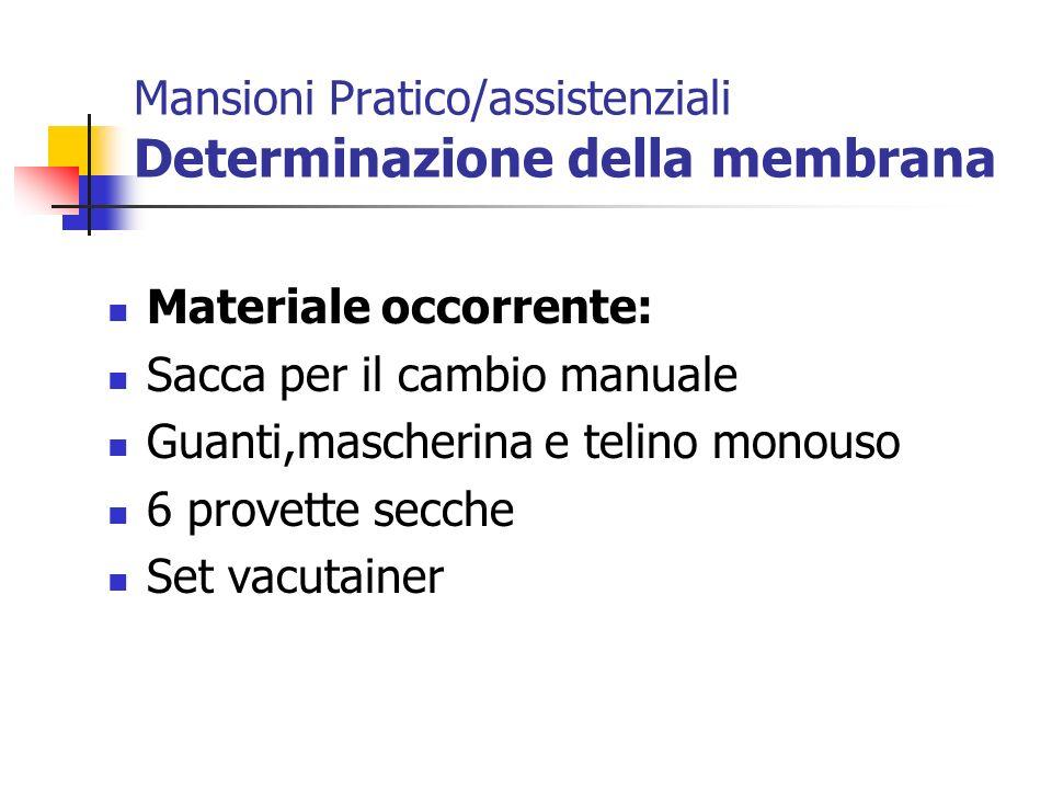Mansioni Pratico/assistenziali Determinazione della membrana