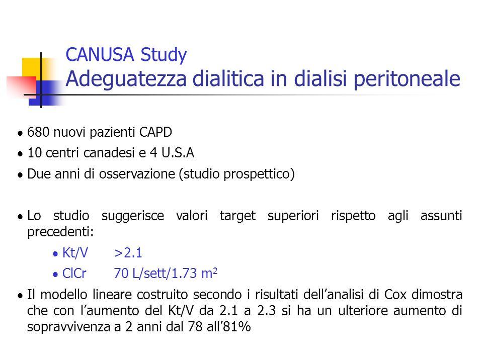 CANUSA Study Adeguatezza dialitica in dialisi peritoneale