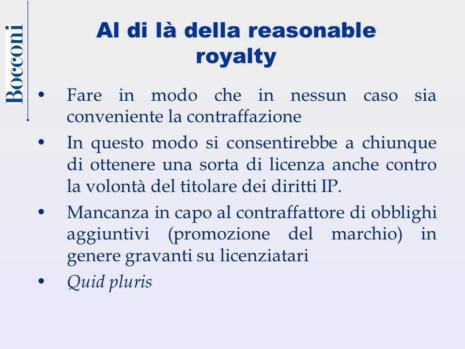 Al di là della reasonable royalty