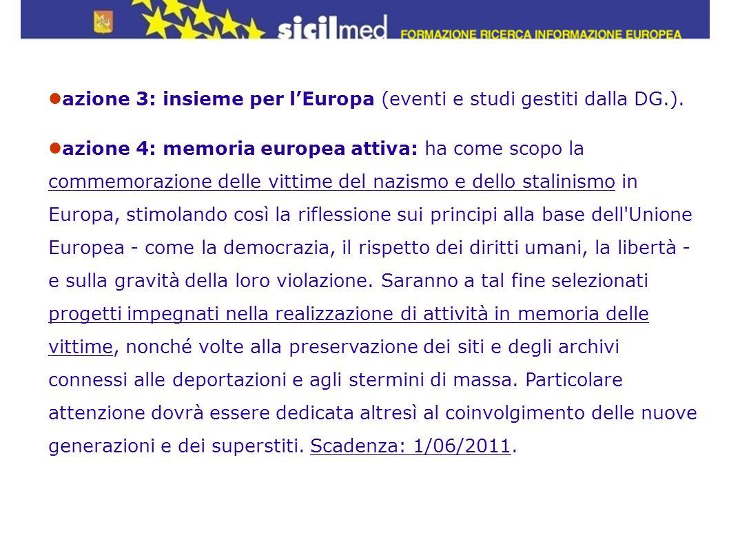 azione 3: insieme per l'Europa (eventi e studi gestiti dalla DG.).