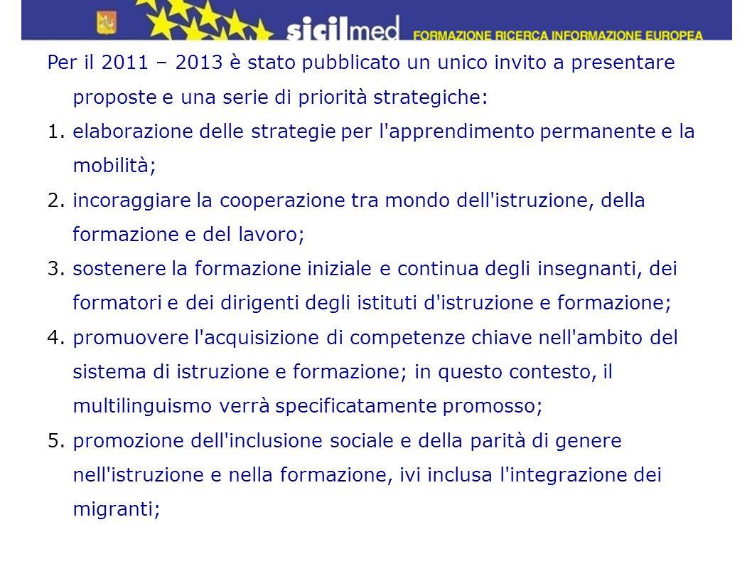 Per il 2011 – 2013 è stato pubblicato un unico invito a presentare proposte e una serie di priorità strategiche: