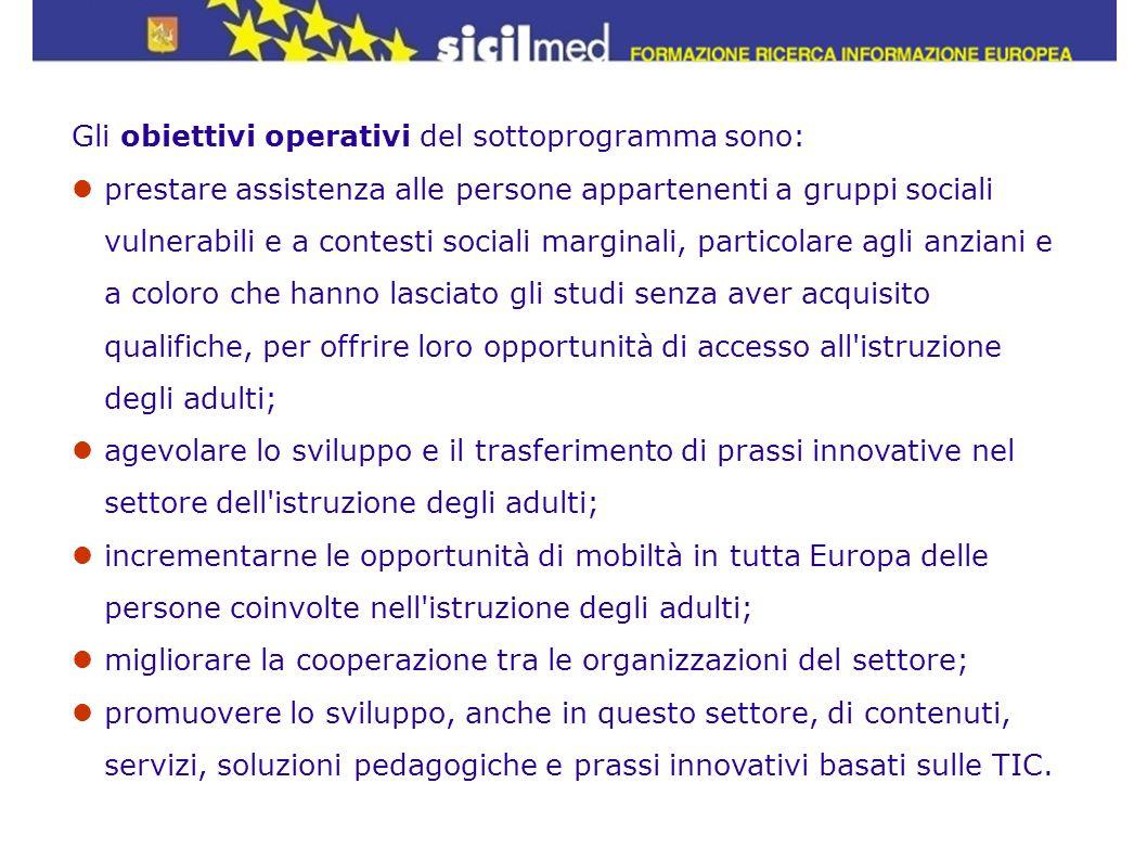 Gli obiettivi operativi del sottoprogramma sono:
