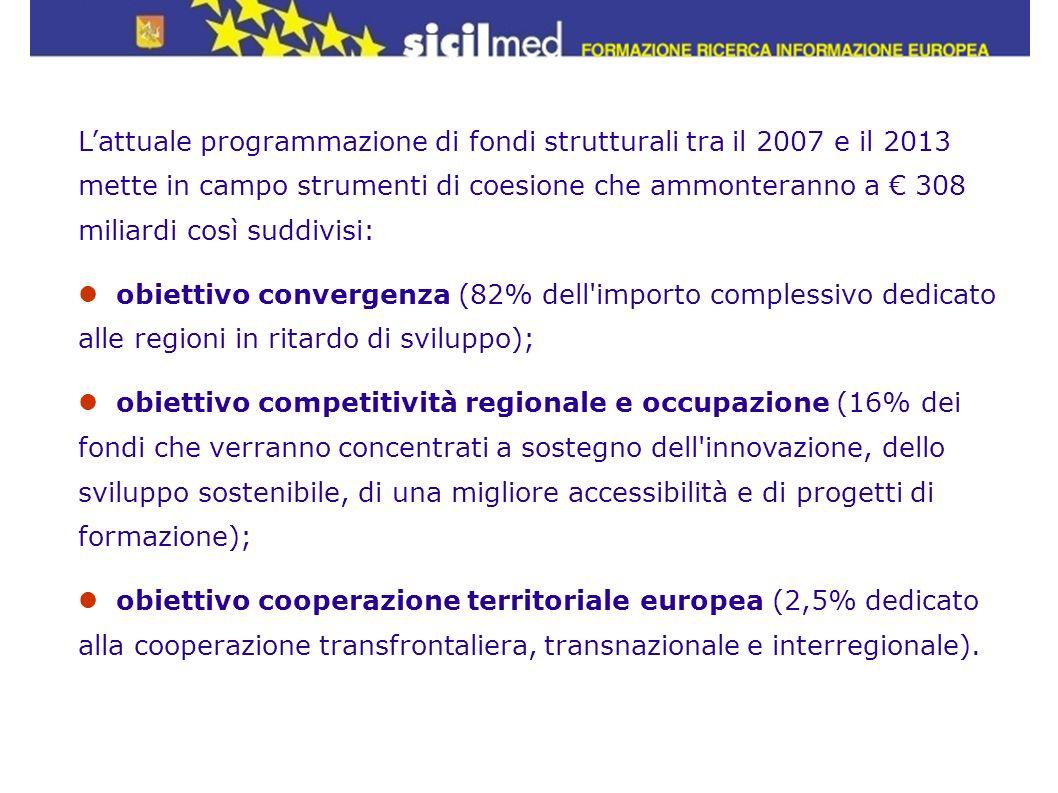 L'attuale programmazione di fondi strutturali tra il 2007 e il 2013 mette in campo strumenti di coesione che ammonteranno a € 308 miliardi così suddivisi: