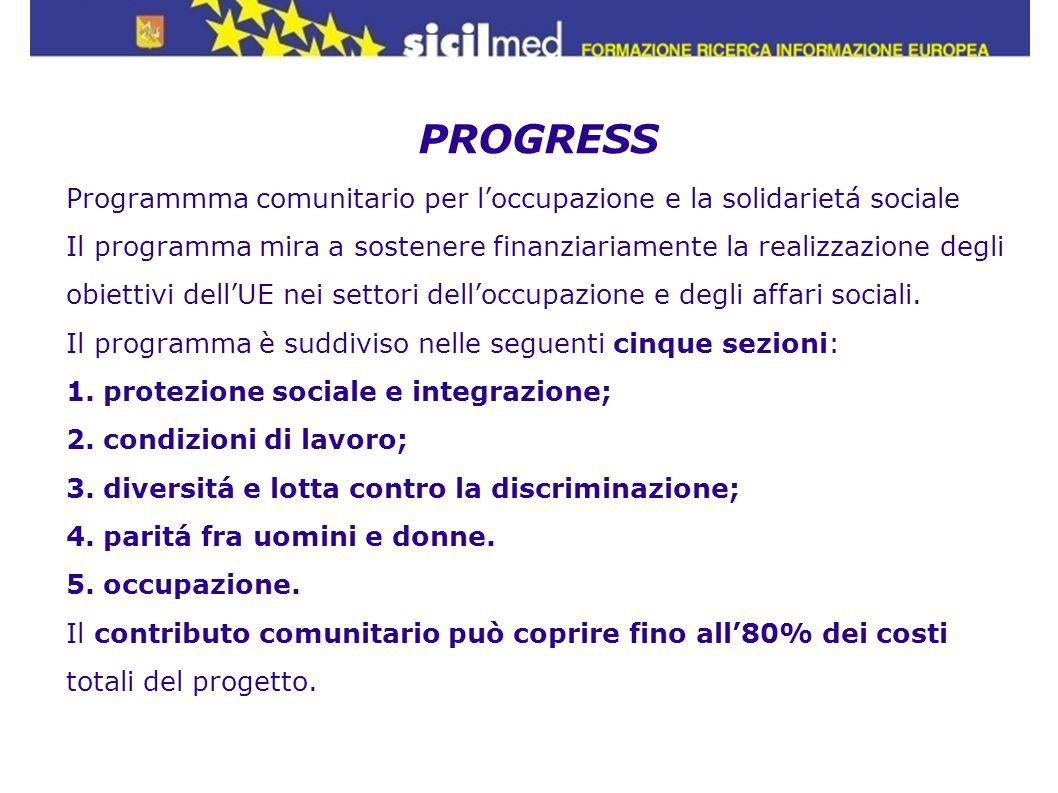 PROGRESS Programmma comunitario per l'occupazione e la solidarietá sociale. Il programma mira a sostenere finanziariamente la realizzazione degli.