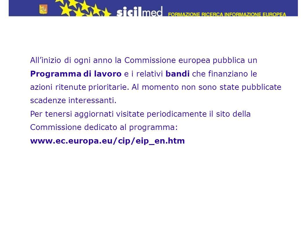 All'inizio di ogni anno la Commissione europea pubblica un Programma di lavoro e i relativi bandi che finanziano le azioni ritenute prioritarie. Al momento non sono state pubblicate scadenze interessanti.