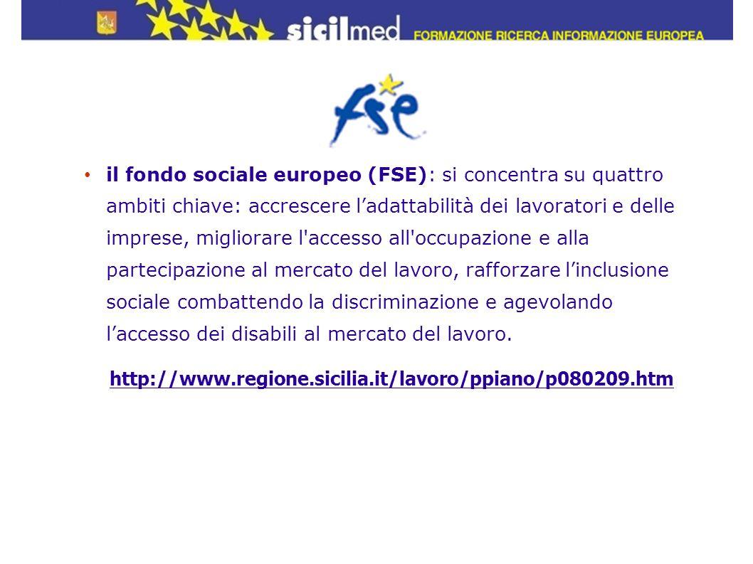 il fondo sociale europeo (FSE): si concentra su quattro ambiti chiave: accrescere l'adattabilità dei lavoratori e delle imprese, migliorare l accesso all occupazione e alla partecipazione al mercato del lavoro, rafforzare l'inclusione sociale combattendo la discriminazione e agevolando l'accesso dei disabili al mercato del lavoro.