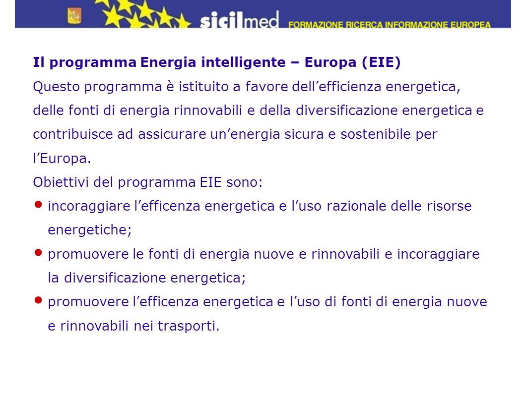 Il programma Energia intelligente – Europa (EIE)