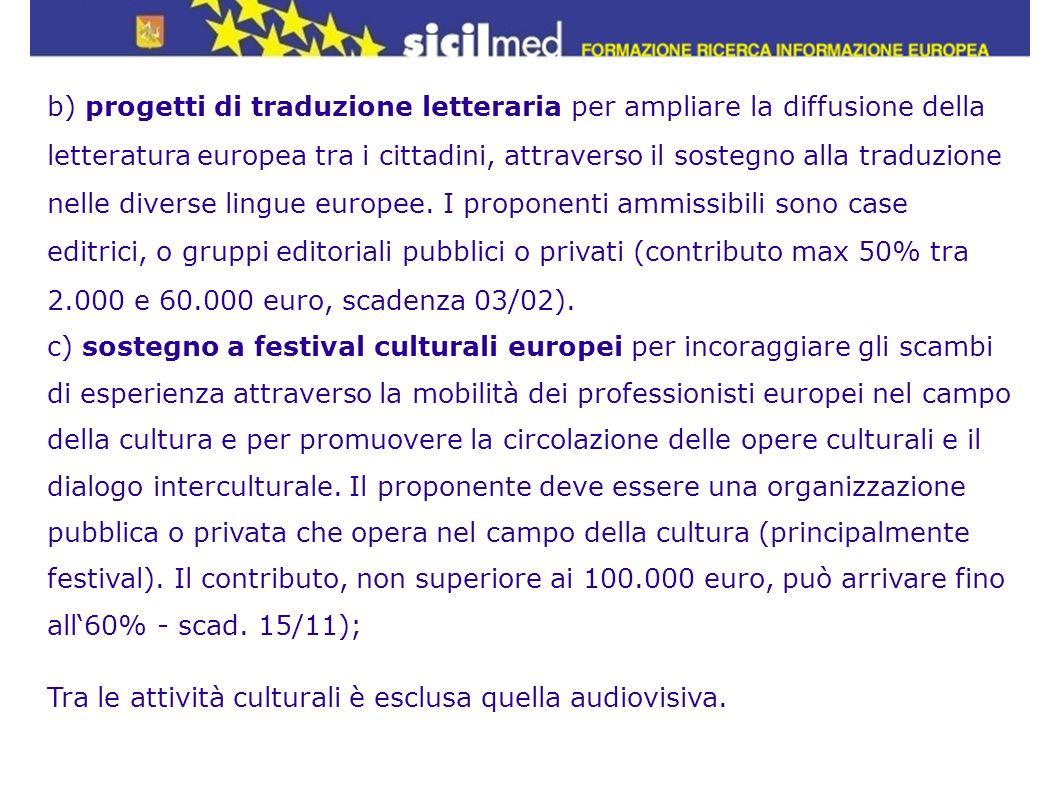 b) progetti di traduzione letteraria per ampliare la diffusione della letteratura europea tra i cittadini, attraverso il sostegno alla traduzione nelle diverse lingue europee. I proponenti ammissibili sono case editrici, o gruppi editoriali pubblici o privati (contributo max 50% tra 2.000 e 60.000 euro, scadenza 03/02).