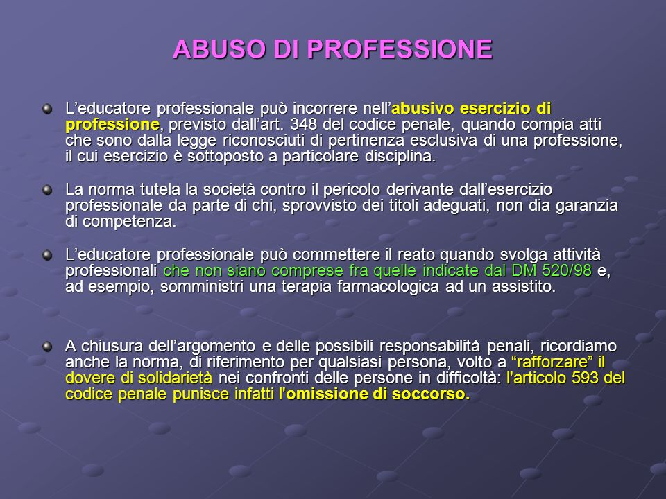 ABUSO DI PROFESSIONE